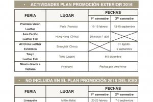 Plan de promoción exterior 2016 para el sector español de curtidos