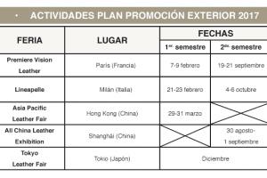 Plan de promoción exterior 2017 para el sector español de curtidos