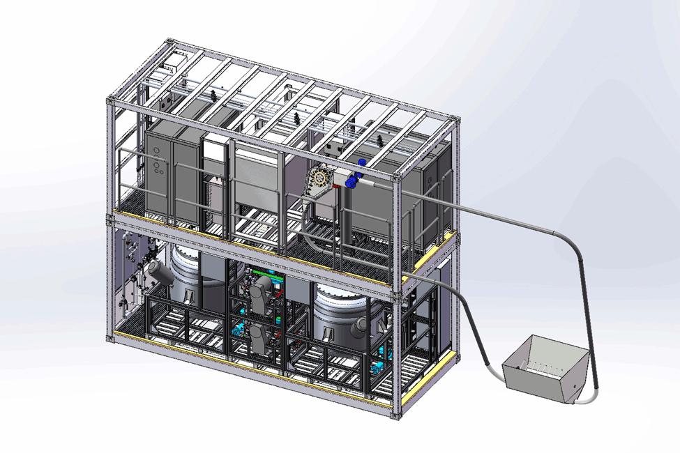 Boceto de la planta piloto para convertir los residuos de rebajado en agentes recurtientes