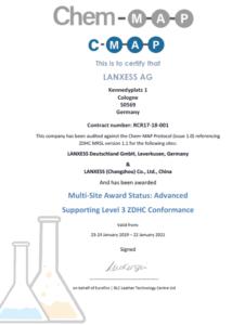 Certificado de ZDHC para los productos de Lanxess.